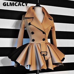 Women Autumn Winter Double Breasted Thick Jacket Tops Classy Office Ladies Workwear Chic Streetwear Steampunk Coats
