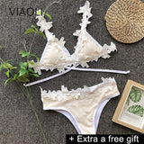 S-L Women Bikini Set Sexy Lace Patchwork Swimwear Neck Strap Lady Split Swimsuit Female Beach Bathing Suit For Honeymoon