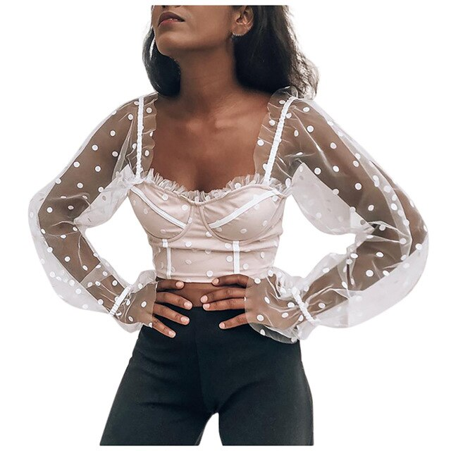 Womail Long Sleeve Mesh Top Fashion Casual Polka Dots Womens Blouses Long Sleeve Autumn Blouse Women