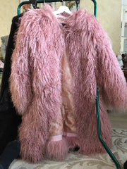 ETHEL ANDERSON Real Lamb Fur Mongolia Sheep Fur Coat Patchwork Fur Jacket s Parkas Whole Skin Jacket 50cm Midwaist Length Fash
