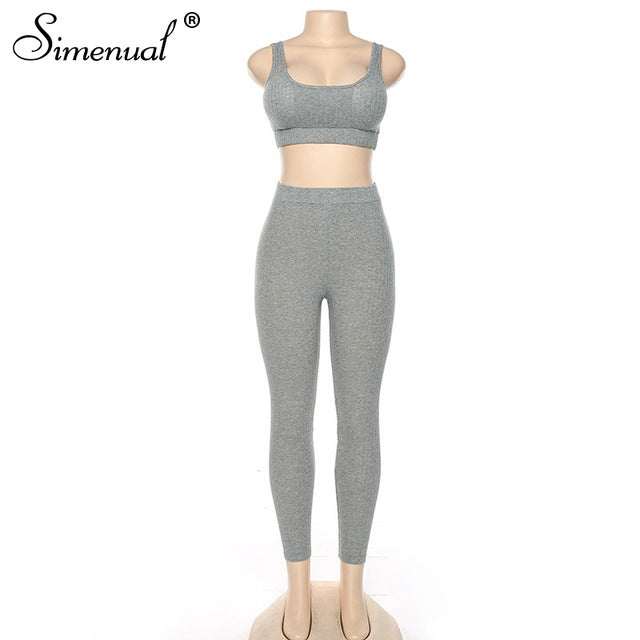 Simenual Sporty Active Wear Workout Two Piece Set Ribbed Casual Fashion 2019 Women Outfits Fitness Grey Tank Top And Pants Sets