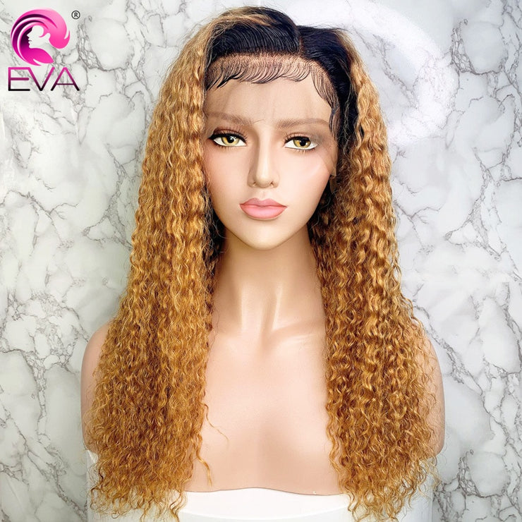 Eva Curly 13x6 Lace Front Human Hair Wigs Ombre 370 Lace Frontal Wigs Pre Plucked With Baby Hair Fake Scalp Wig Brazilian Remy