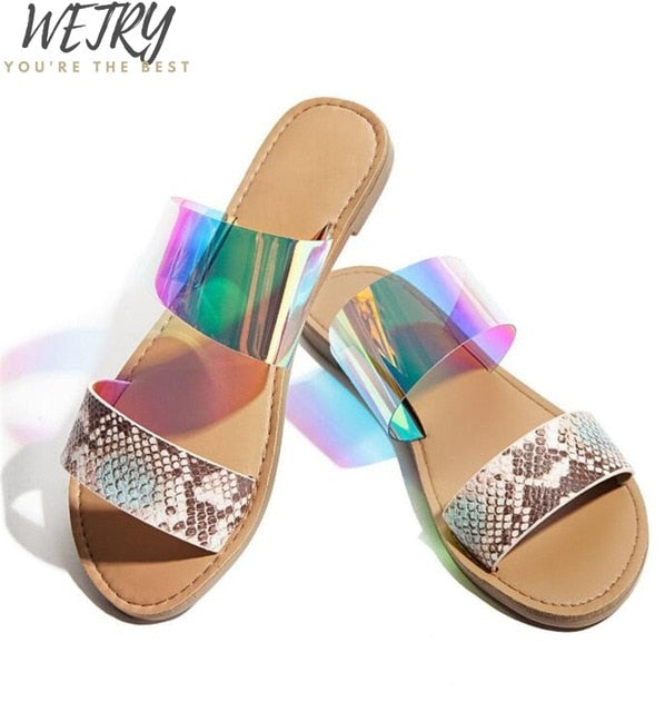 Dimond women slippers summer crystal Hollow flat Slide ladies open toe Comfort slip on Outdoor beach sandals woman shoes