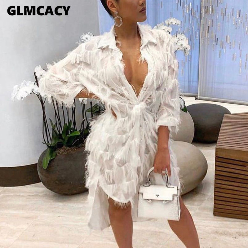 Women Feather Design Turn Down Collar Shirt Dress Asymmetrical Hem Solid Chic Spring Fall Loose Plus Size Dress