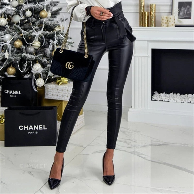 InstaHot Gold Black Belt High Waist Pencil Pant Women Faux Leather PU Sashes Long Trousers Casual Sexy Exclusive Design Fashion