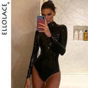 Pu Leather Body Black Bodysuit Women Long Sleeve Short Jumpsuit Female Sexy Bodycon Rompers Basic Solid New Pu Overalls