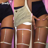 3 colors gold crystal leg chain bikini beach harness sexy body thigh chains legs jewelry for women club bar necklace accessories