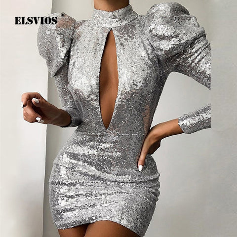 Elegant Puff Sleeve Evening Party Dress Women Hollow Out Bright Shiny Bodycon Dress Lady Backless Glitter Sequin Mini Club Dress