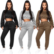 Echoine Winter Thick fleece Hoodies Tops and Pants Two Piece Set Women Tracksuit Crop Top Trousers Casual Sportwear Matching Set
