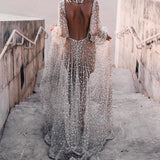 Summer Sexy Elegant Long Sleeve Perspective Halter V-neck Sequin Dress Party  Women Dress