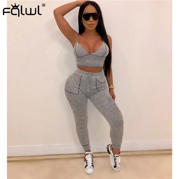 FQLWL Streetwear Fitness Two Piece Set Women Outfits Suit Sexy Crop Top and Bodycon Pants Female Tracksuit Summer Matching Sets