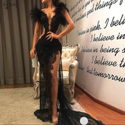 robe de soiree Mermaid Lace Appliques Evening Formal Dresses With Feather Sleeves Illusion Sheer High Slit Long robe de soiree