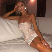 Ceremokiss Sparkle Glitter Dress Women Sexy Off Shoulder Party Nightclub Bodycon Dresses Autumn Strapless Backless Mini Vestidos