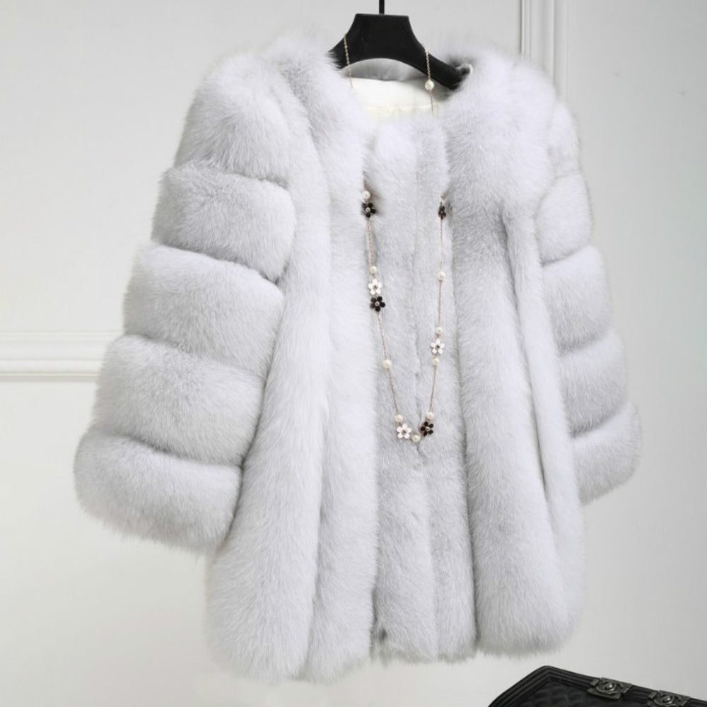 Plus Size 4XL Warm Plush Coat Faux Fur Coat Women Autumn Winter Luxury Soft Fur Jacket Coat for Women High Quality Thick Outwear