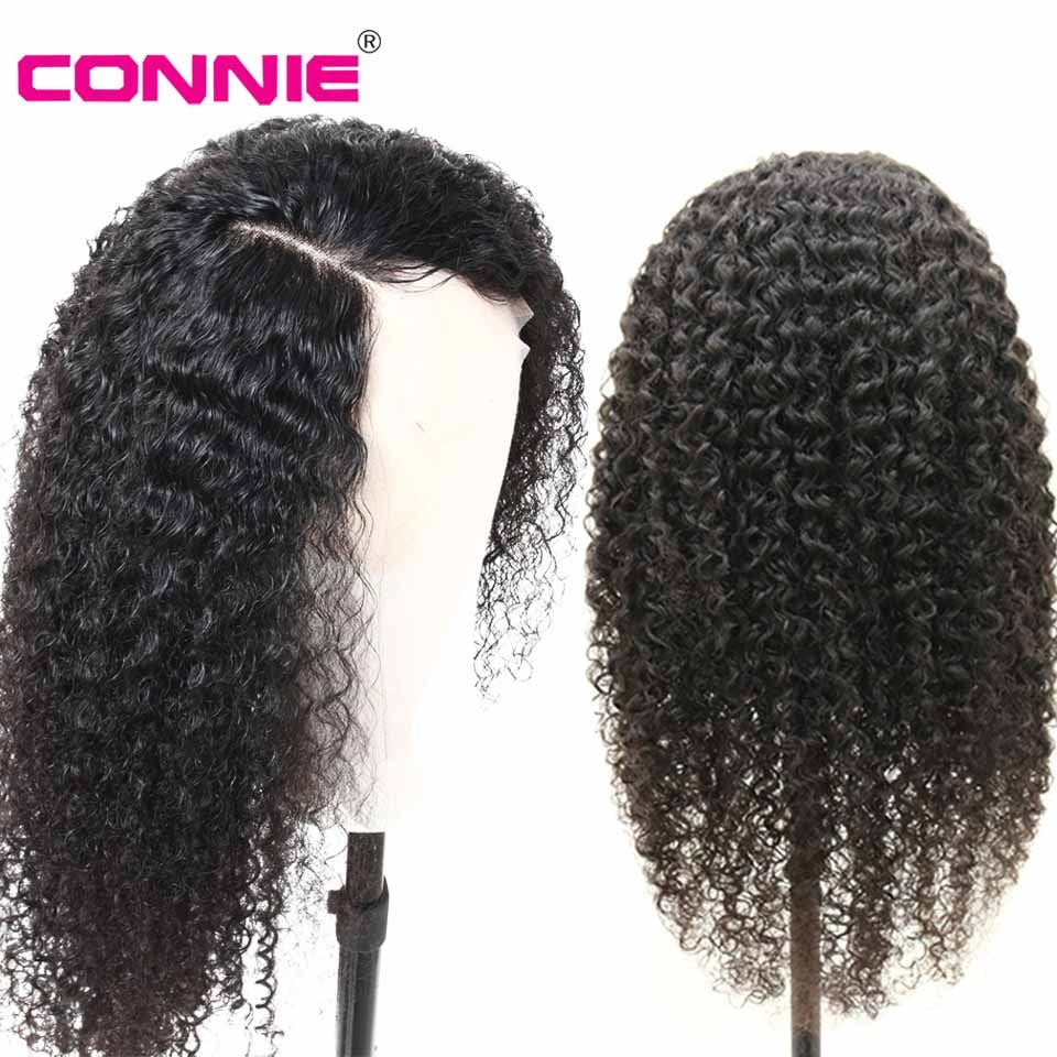 "Connie 13X4 Lace Front Middle Ratio 10""-30"" Long Wig Brazilian Remy Curly Human Hair Wigs With Baby Hair Color 150% Density"