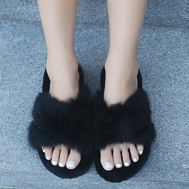 Real Rabbit Hair Slippers Female Thick Bottom Joker Cotton Slippers That Occupy The Home Web Celebrity Maomao Drag The New Winte