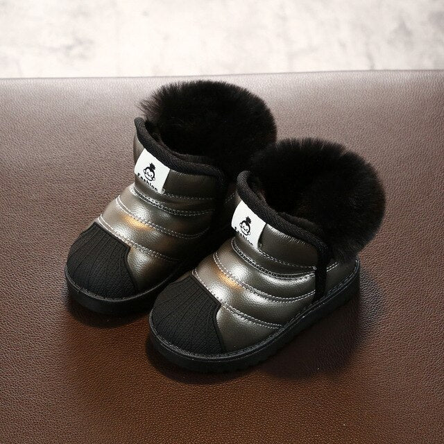 Children Snow Boots Girls Boys Shoes Winter Kids Fashion PU Leather Warm Woollen Plush Kids Outdoor Shoes Baby Sneakers