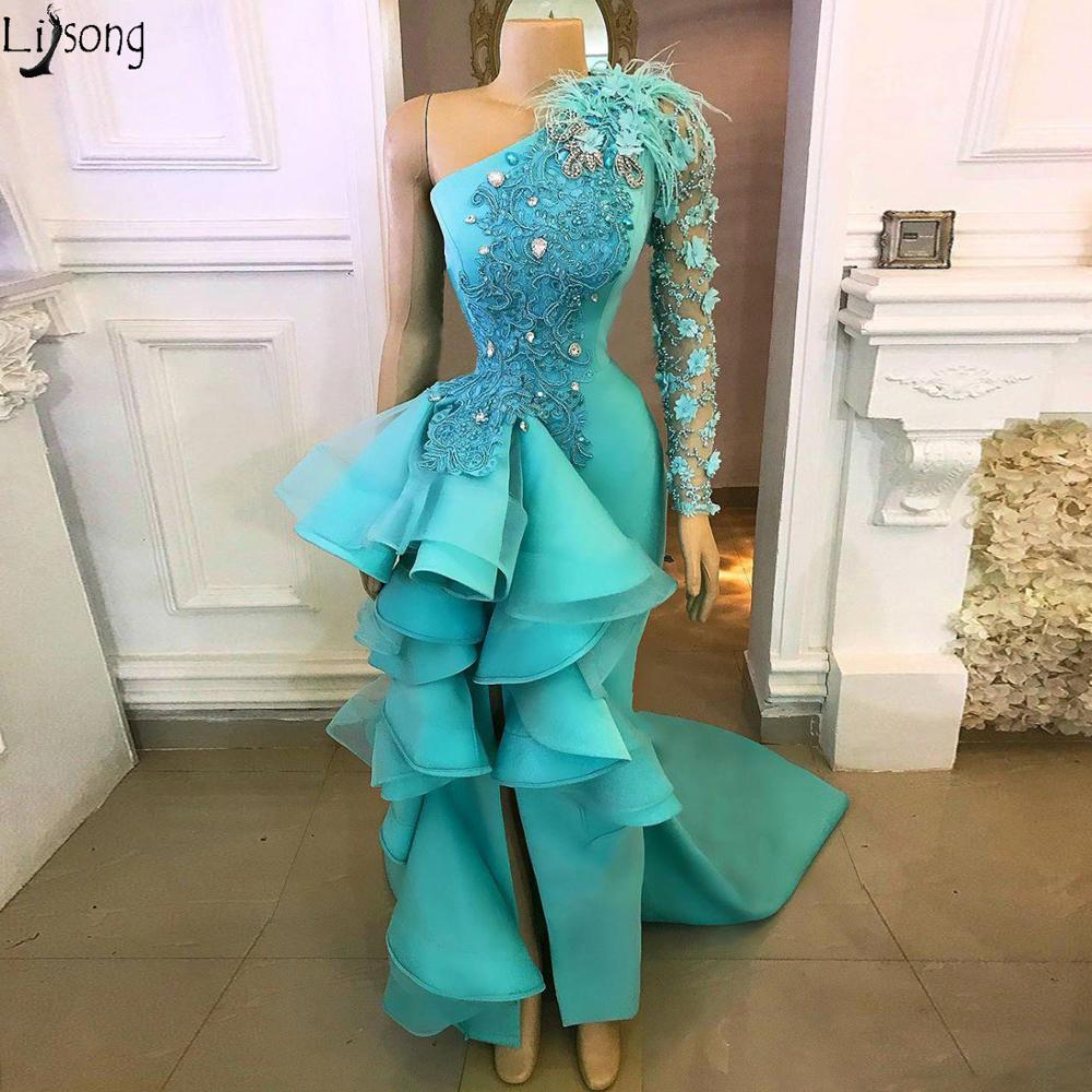 Turquoise Mermaid Prom Dresses One Shoulder High Slit Ruffles Chic Evening Dress Appliques Beaded Formal Party Gowns Custom