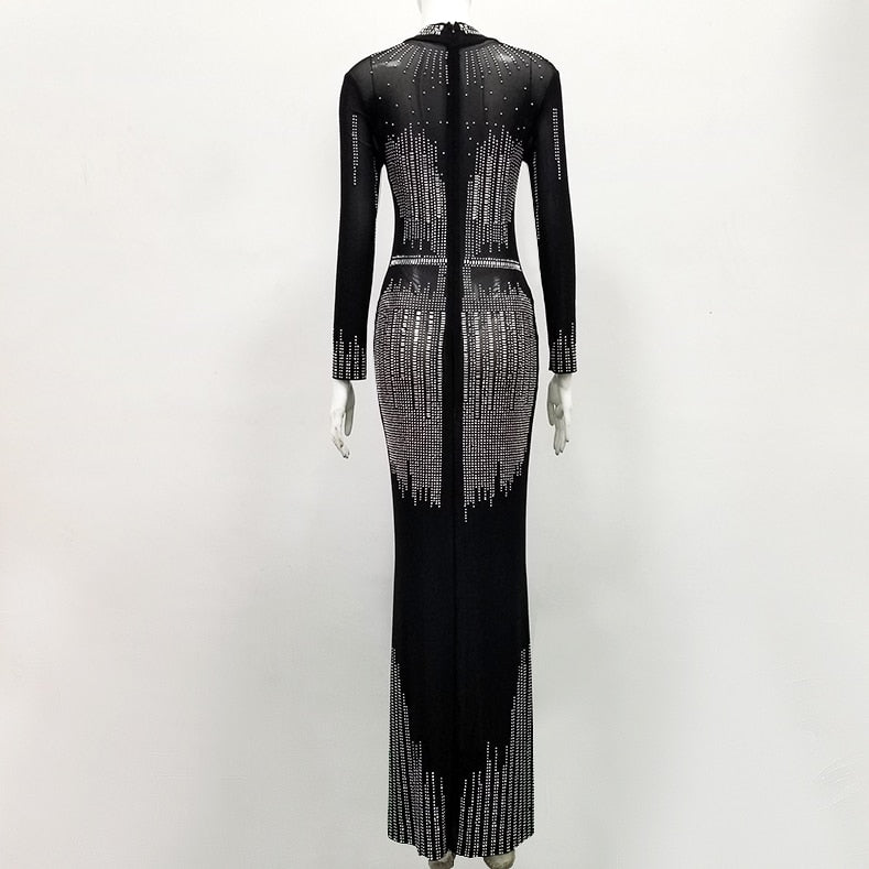 High Quality Black Long Sleeve Beading Hollow Out Bandage Trumpet Dress Cocktail Party Dress
