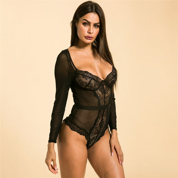 Shestyle Lace Sexy See Through V Neck Bodysuit Women Long Sleeve Transparent Mesh High Waist Breast Clubwear Black Flower Bodies