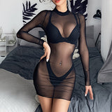 Womens Mesh Sheer Mini Beach Dress Bikini Cover Up Summer Beach Sundress Hot