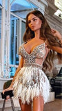 Sexy Spaghetti Strap Dubai Arabic Illusion Above Knee Evening Formal Dresses Chic Beading Feather Mini Prom Party Dresses