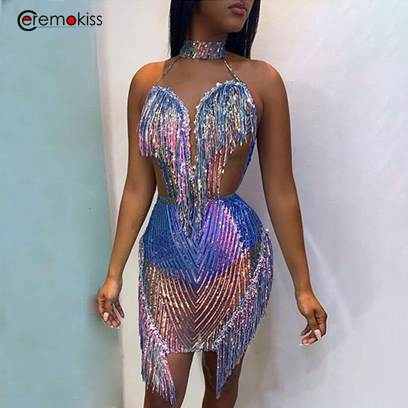 Ceremokiss Sequin Dress Women Sexy Night Club Party Dress Halter Lace Tassel Mini Dresses Summer Backless Bodycon Vestidos