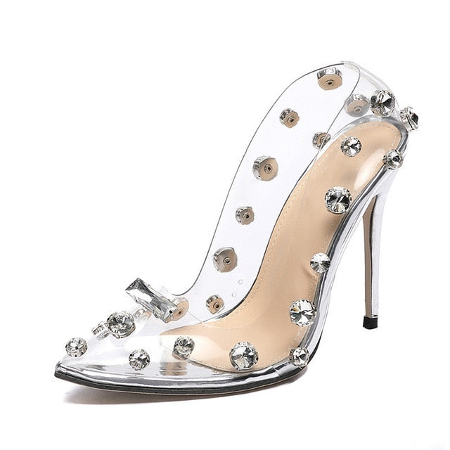 Golden Rhinestone PVC transparent Women Pumps Shoes Spring Autumn High Heels PVC Sexy Party Wedding shoes size 41 42