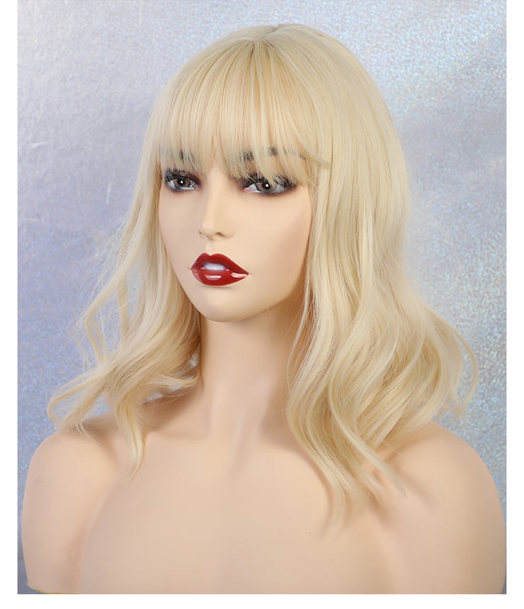 JONRENAU High Quality Short Natural Wave Hair Synthetic Wigs with Neat Bangs for Women Pink Beige Brown 3 Colors for Choose