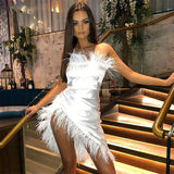 Ceremokiss Party Christmas Dress Women Autumn Satin Feather Off Shoulder Bodycon Split Long Dresses Maxi Mermaid Club Vestidos