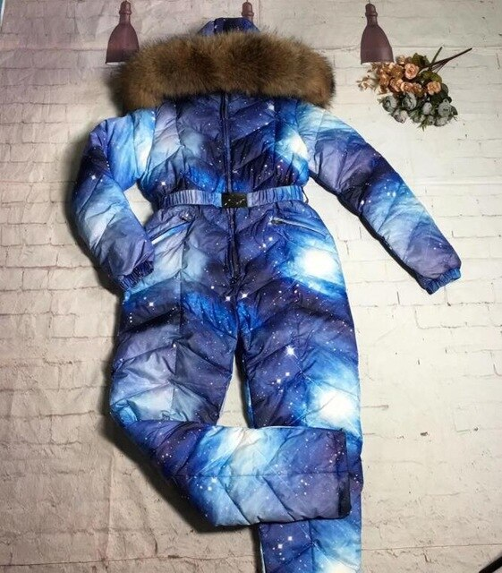 Family sets  winter Outwear suit monther and child Family set raccoon fur hooded Women down jumpsuit outdoor ski sui