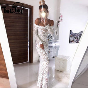 Elegant Sequin Maxi Dress Women Evening Party Summer Dress Club Long Sleeve Backless Mesh Long Dress Sexy Ladies  Vestidos