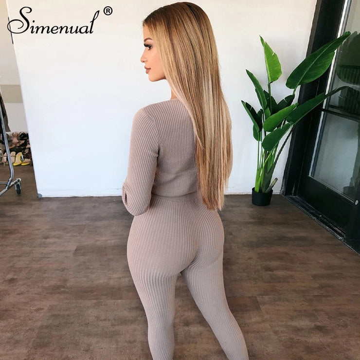 Simenual Ribbed Casual Women Matching Set Fashion V Neck Long Sleeve 2 Piece Outfits Autumn Solid Basic Slim Top And Pants Sets