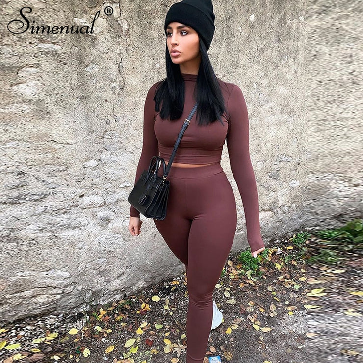 Simenual Basic Solid Skinny Women Two Piece Set Casual Fashion Workout Active Wear Bodycon Outfits Long Sleeve Top And Pants Set