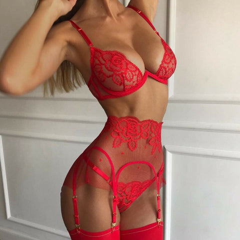 3PCS Set Women's Sexy  Babydoll Underwear Lace V neck Bra High waist Garter Belt G-string Sets Nightwear