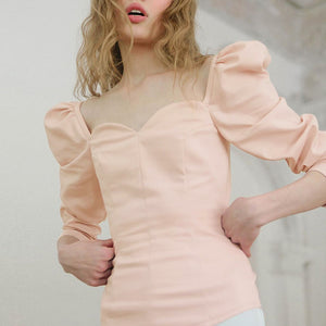 solid color vintage new women shirts puff sleeve square sexy small V-neck Slim blouse