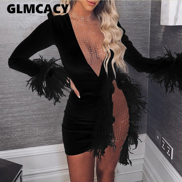 Women See Through Nightclub Dress Mesh Inserted Embellished Party Dress Sexy White Feather Mini Dress