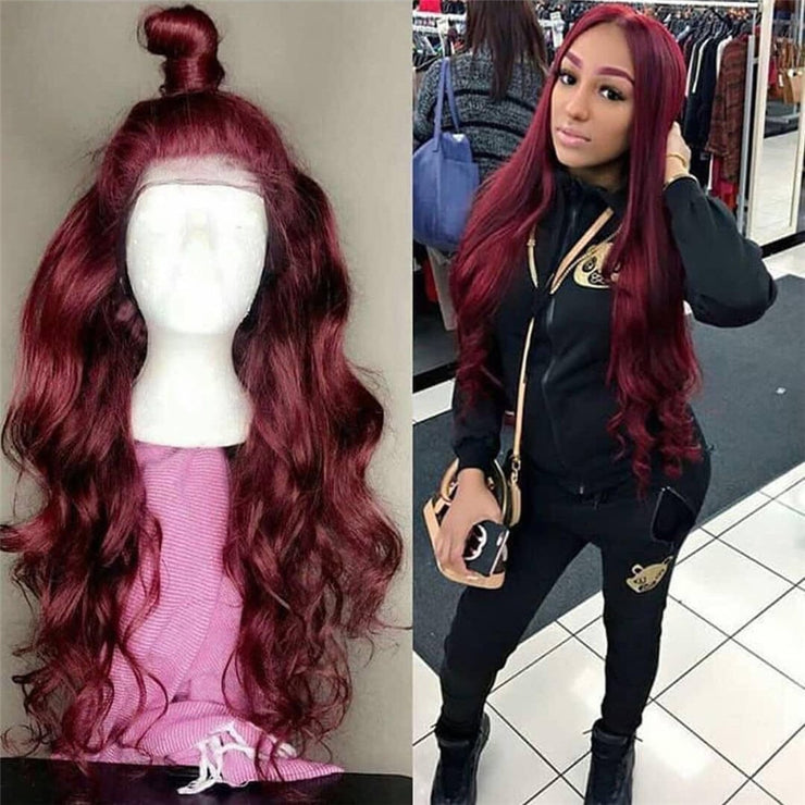 13*6 Body Wave 1b/99J Colored Lace Front Human Hair Wigs for Women Ombre Burgundy Lace Front Wig Pre Plucked Brazilian Remy Hair
