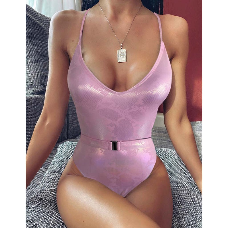 New Sexy Belt One Piece Swimsuit Women Push Up Swimwear Bodysuit Swimsuit Monokini Backless Bathing Suits Summer Beach Wear