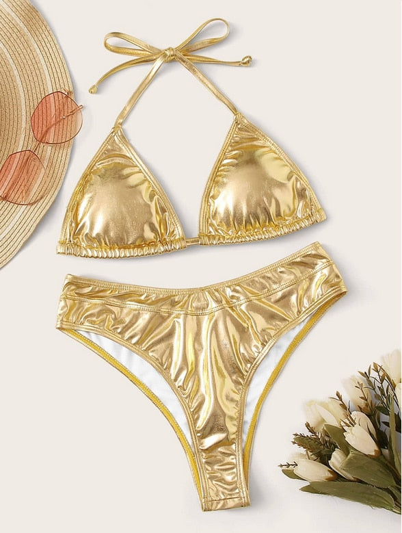 New Gold silver Metallic Swimsuit luxury padded bra sequine bikini waterproof micro monokini swimwear sexy bathing suit