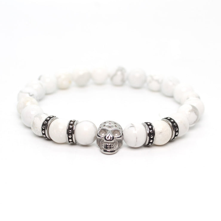 Stainless Steel Skull Bracelet For Men Jewellery Stone Beads Jewelry Accessories Friends Gift Erkek Bileklik Dropshipping
