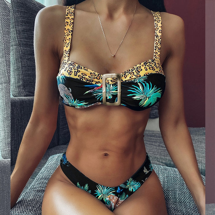 Brazilian bikini thong Leopard animal swimsuit female High cut bathing suit Tropical print swimwear women  Summer biquini