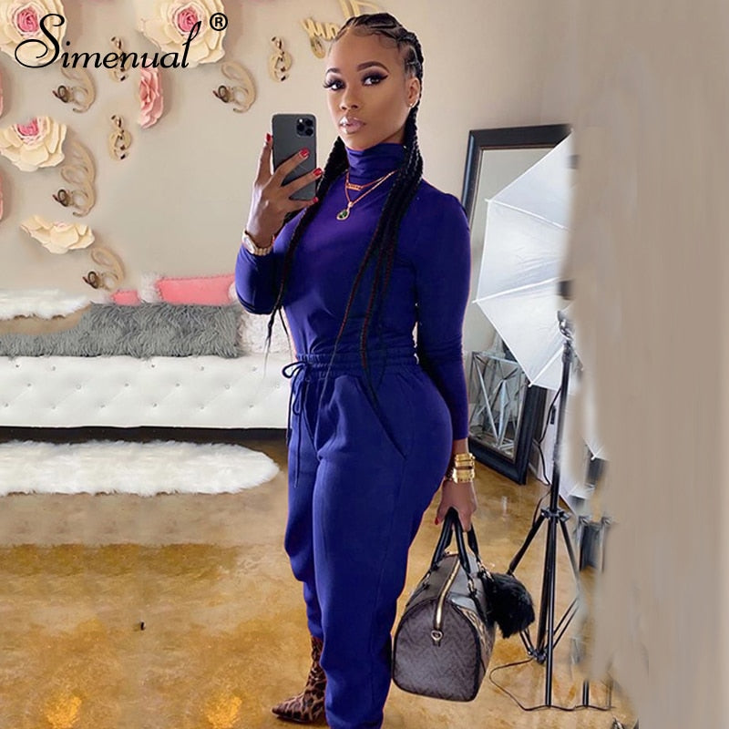 Simenual Casual Basic Sportswear Co-ord Sets Women Long Sleeve Turtleneck Workout Tracksuits Fashion Solid Top And Pants Set New
