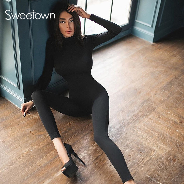 Sweetown Black/White Sexy Bodycon Tracksuit Jumpsuit Women  Fitness Romper Long Sleeve Zipper Elastic Bodysuit Body Mujer