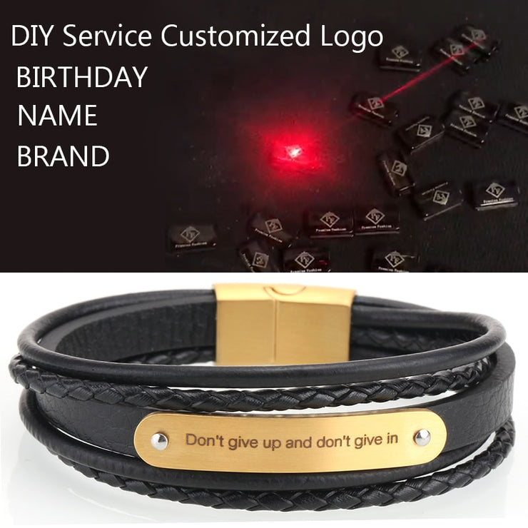 Leather Bracelets for Men Women Customizable Engraving Stainless Steel Casual Personalized name Bangle handmade bracelet couple