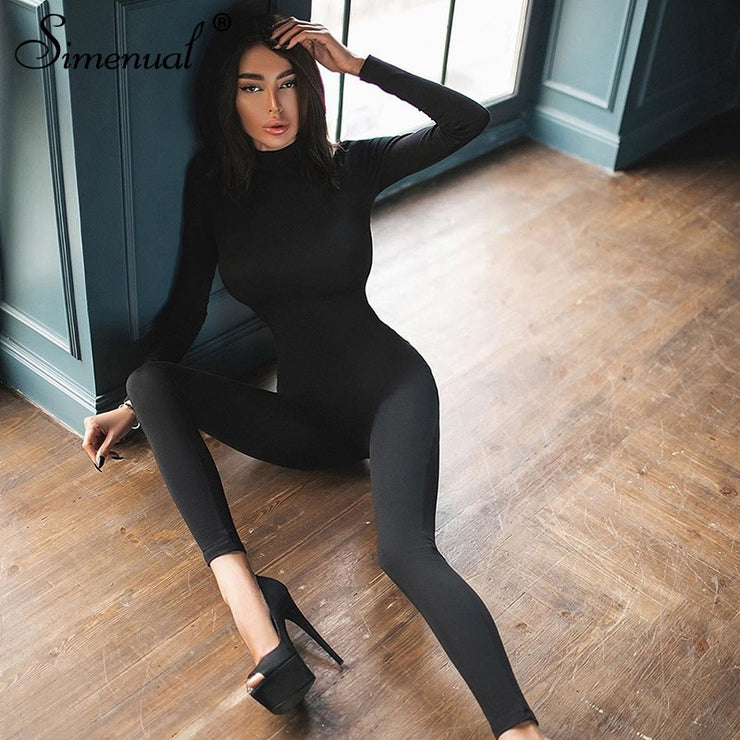 Simenual Casual Fitness Workout Active Wear Jumpsuits Solid Long Sleeve Skinny Bodycon Sporty Rompers Womens Jumpsuit Fashion