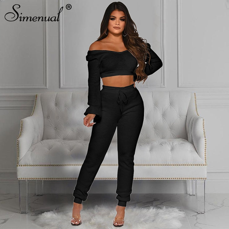 Simenual Casual Off Shoulder Solid Women Co-ord Sets Long Sleeve Ribbed Fashion Workout 2 Piece Outfits Crop Top And Pants Set