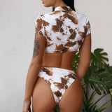 Hollow out bikini set Sexy bathing suit High waist swimwear women Floral print bikini  summer bathers High cut biquini new