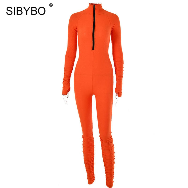SIBYBO Spring Turtleneck Skinny Casual Jumpsuit Women Long Sleeve Front Zipper Sport Wear Women Rompers Black Overalls for Women