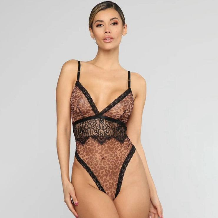 Spaghetti Strap Sexy Leopard Lace Bodysuit for Women Fashion Backless Deep V-Neck Teddy Floral Lace Bodysuits Club Wear Jumpsuit